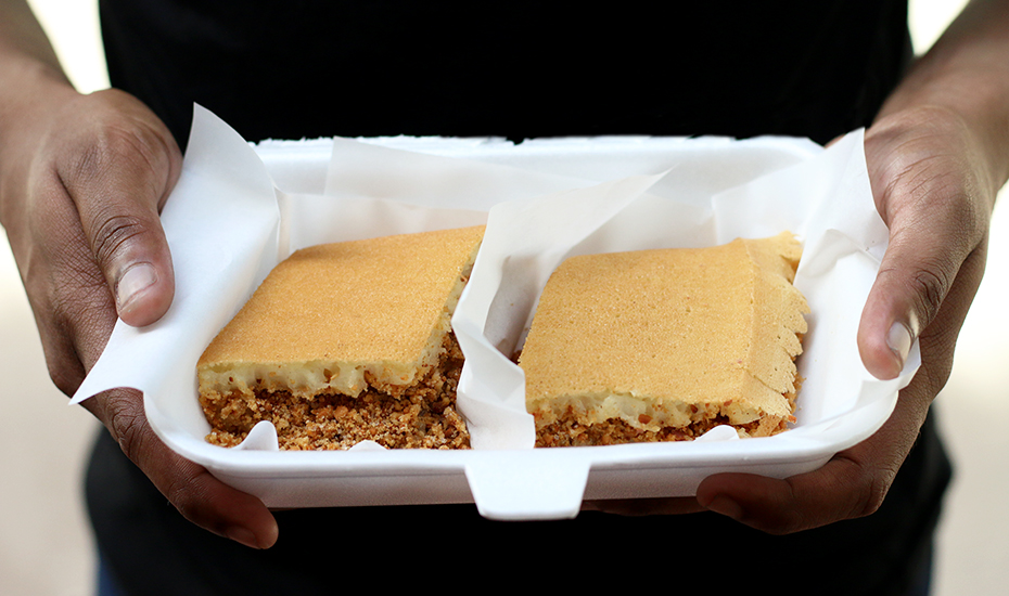 Think of Apam Balik as a thick pancake with peanut fillings.