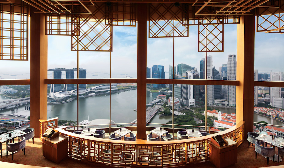 The Singapore skyline at Equinox Restaurant, Swissotel The Stamford