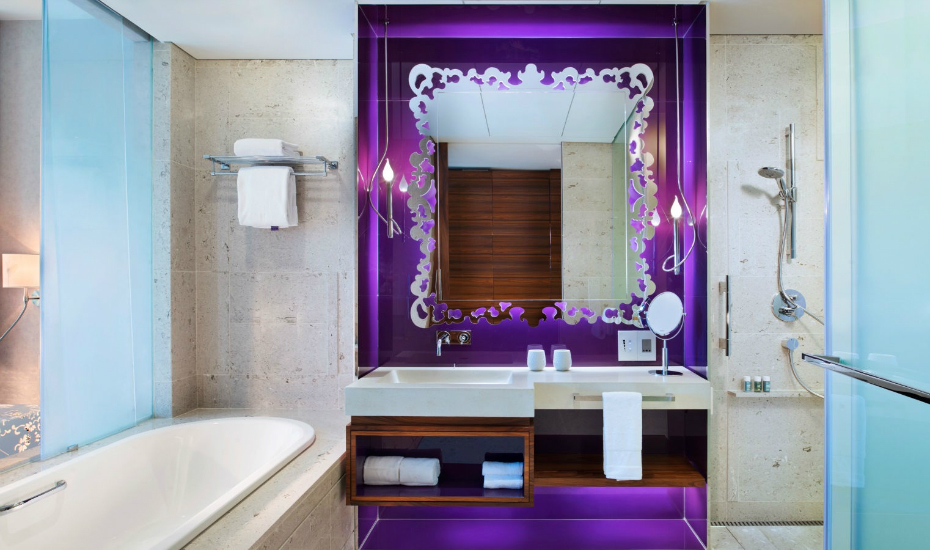 The bathroom of the Fabulous Room is just as eye-popping (Credit: W Singapore - Sentosa Cove)