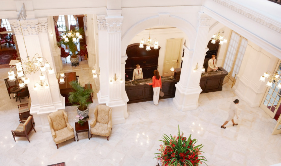 The lobby of Raffles Hotel