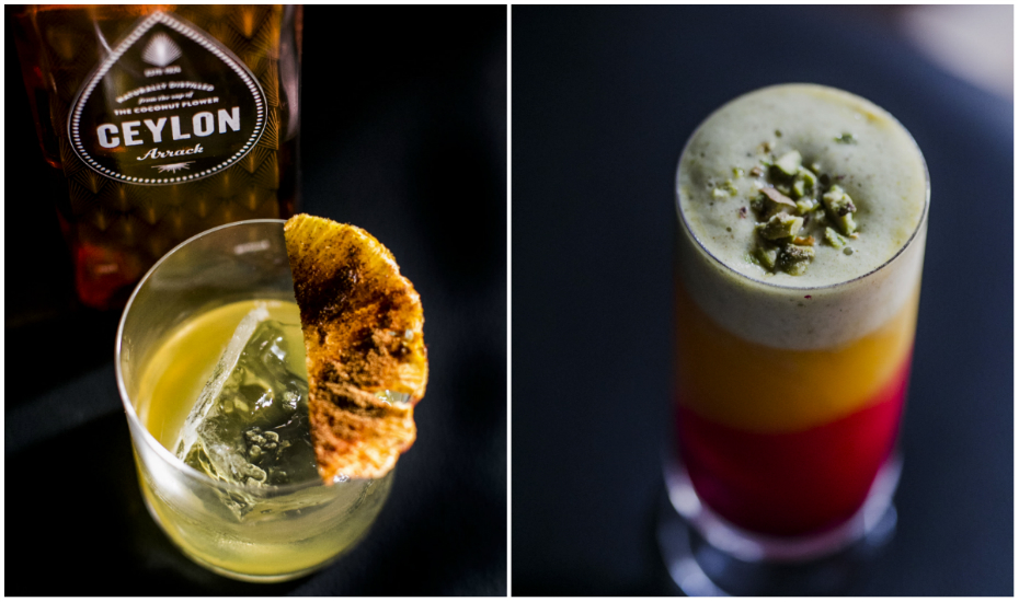 Other less-buggy cocktails include the Ceylon Arrak (left) and Mango Lassi (right)