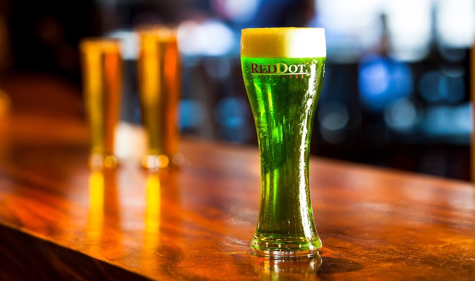 Green coloured beer