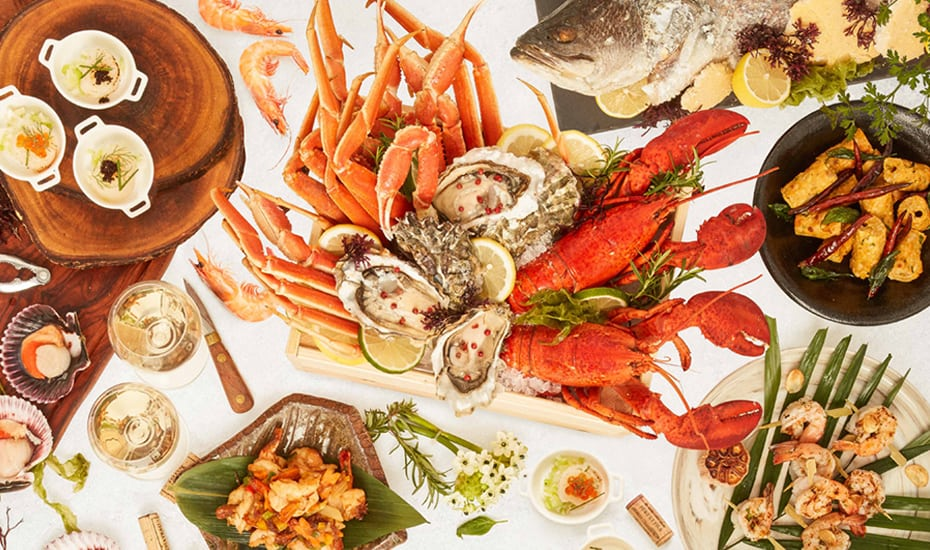 Best seafood in Singapore: Dive into an extended seafood spread on Tuesdays at the Marina Bay Sands' Rise Restaurant.