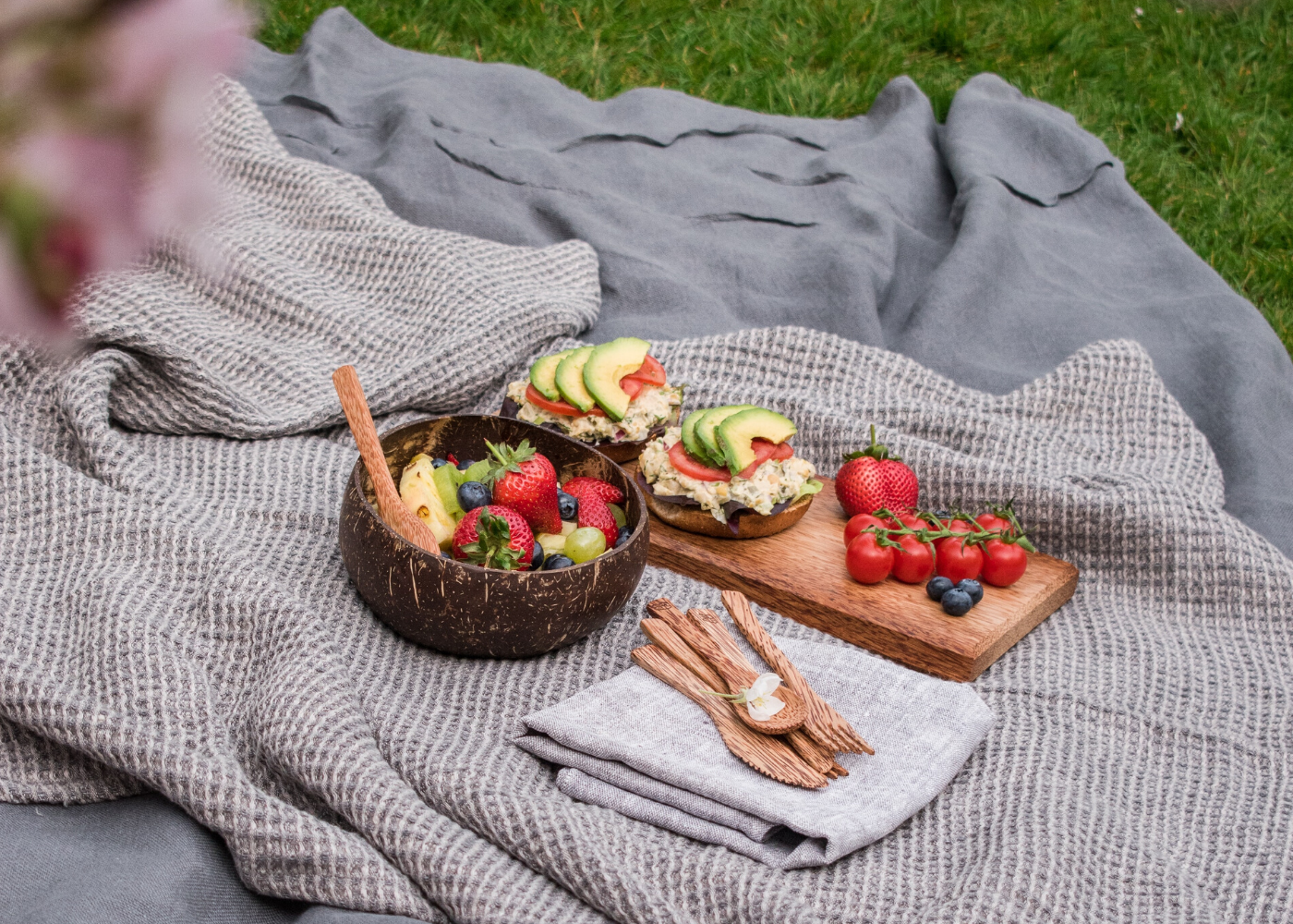picnic food on grass