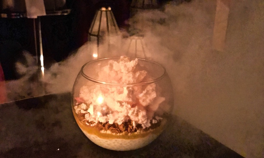 Rose mahlabi espuma: dessert here emerges from a cloud of liquid nitrogen. Photography: Selina Altomonte