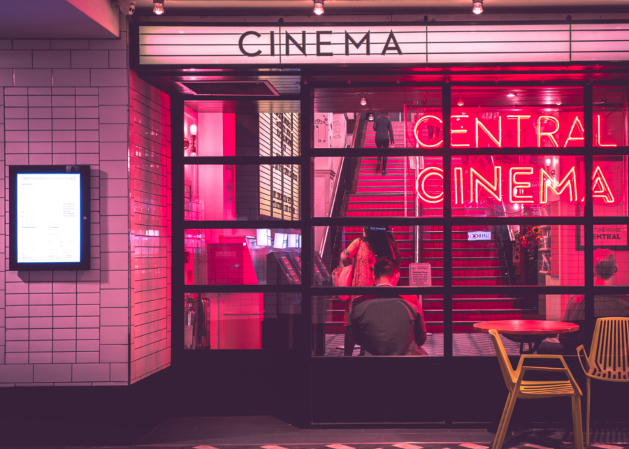 neon lights outside cinema theatre