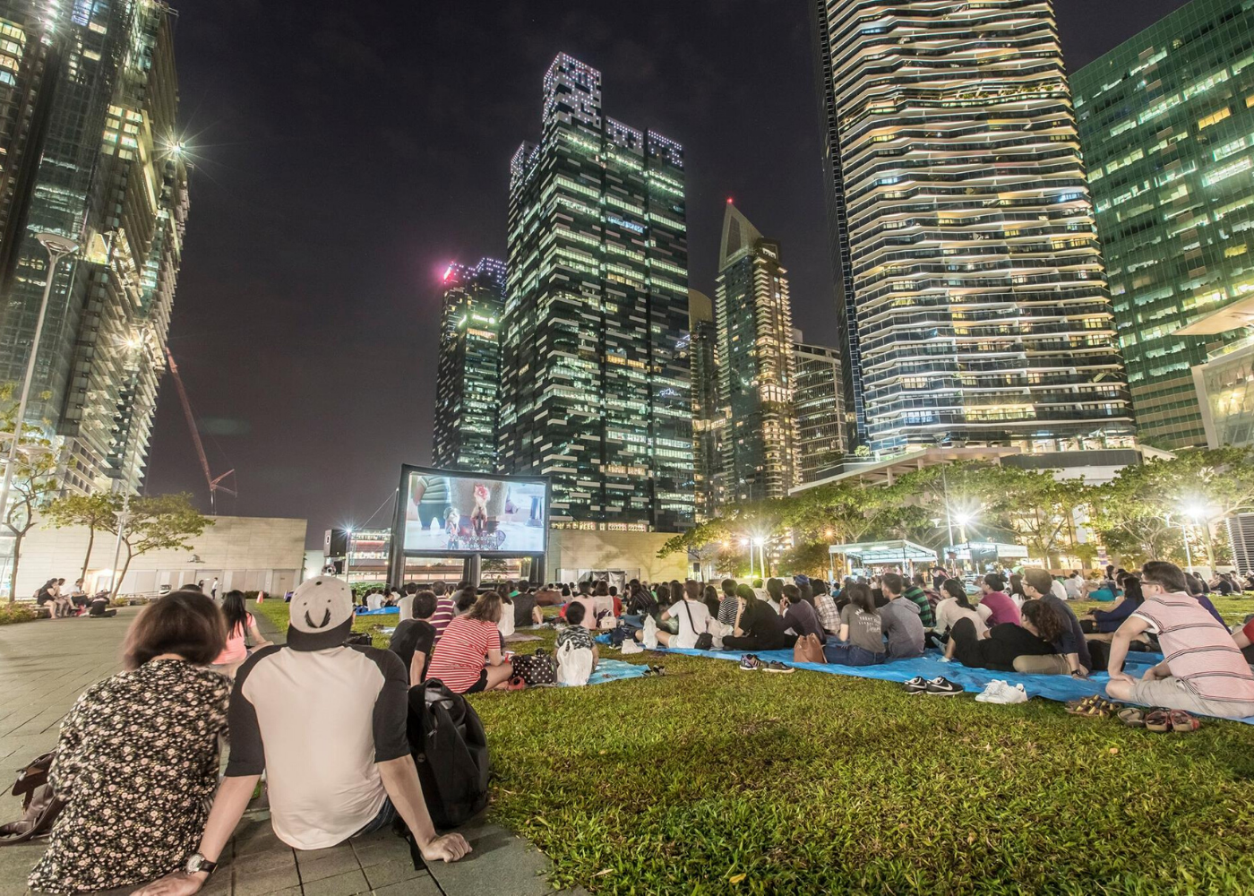 outdoor cinema on the grass