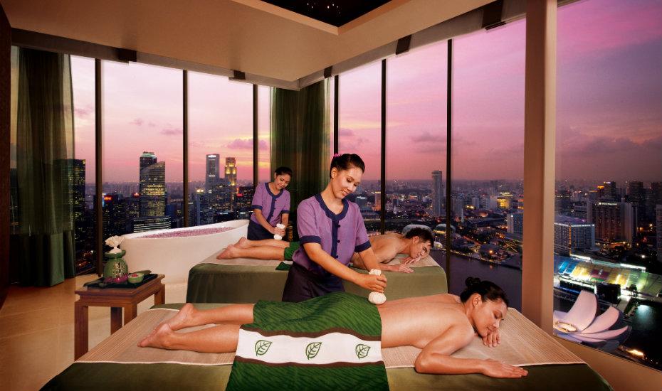 Unwind with a relaxing massage at Banyan Tree Spa at Marina Bay Sands