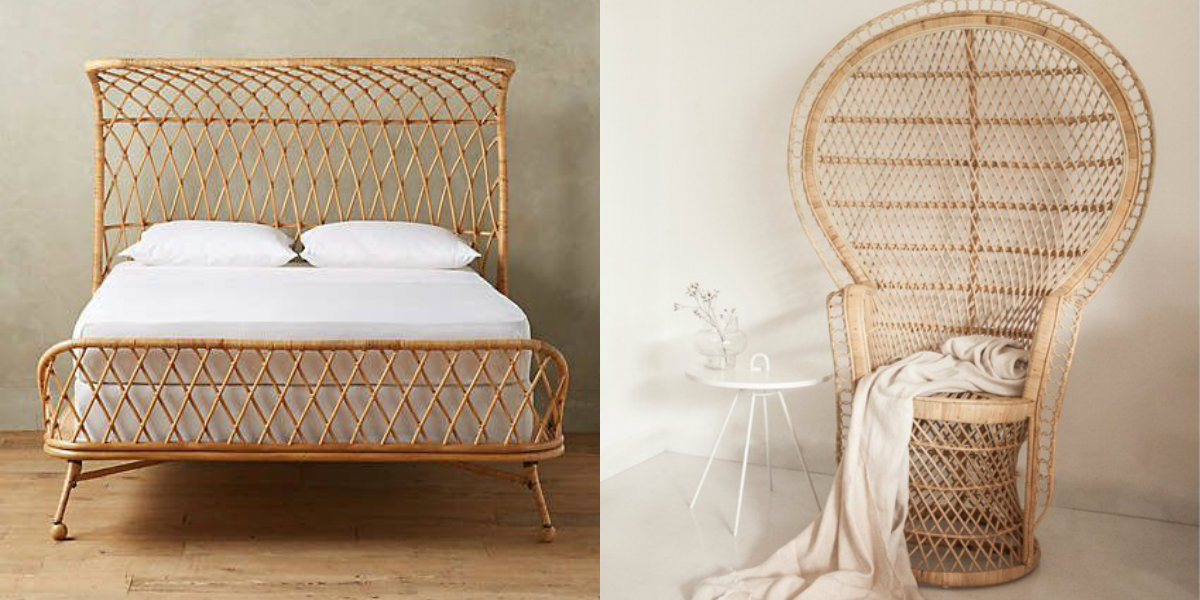 Natural curved rattan bed by Anthropologie; Peacock chair by Stylo Deco. Photography: Anthropologie and Stylo Deco