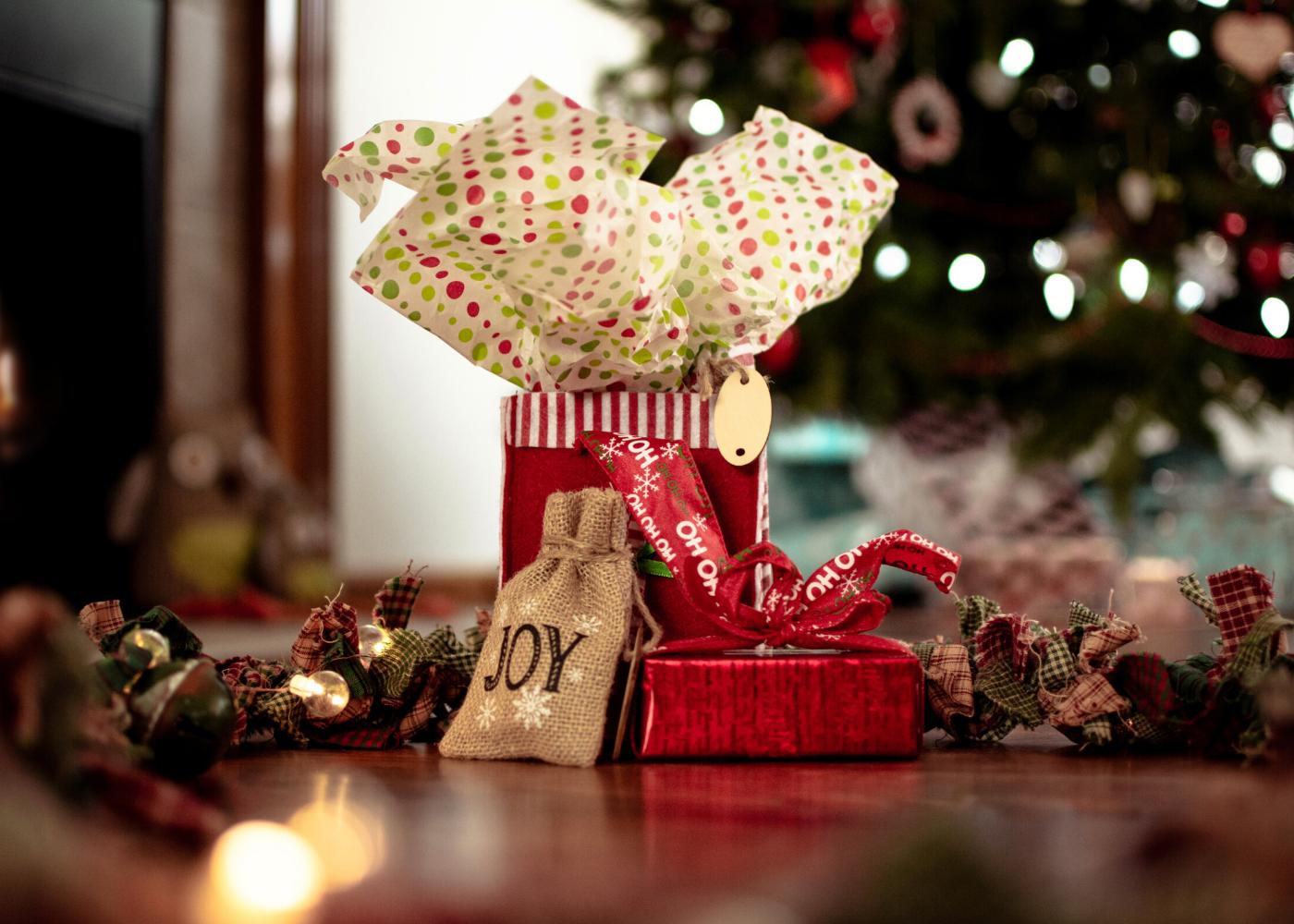christmas gift joy under the tree
