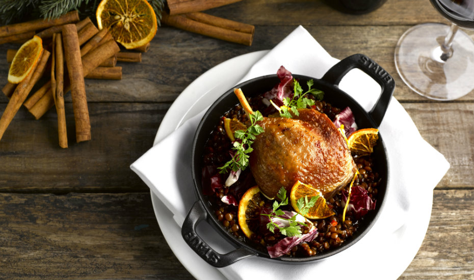 Try the Confit Duck Leg from the Christmas menu at mezza9 (Photography via mezz9)