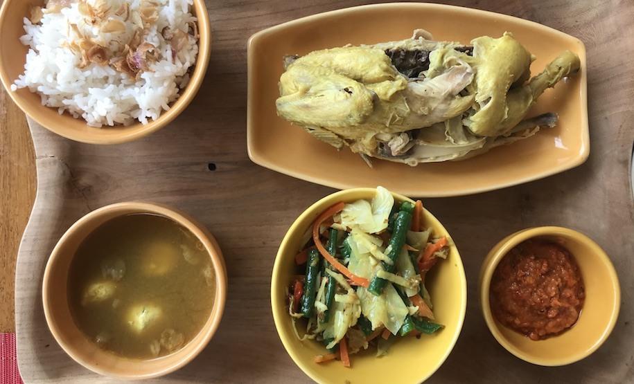 Conrad Bali Suku restaurant's ayam betutu.