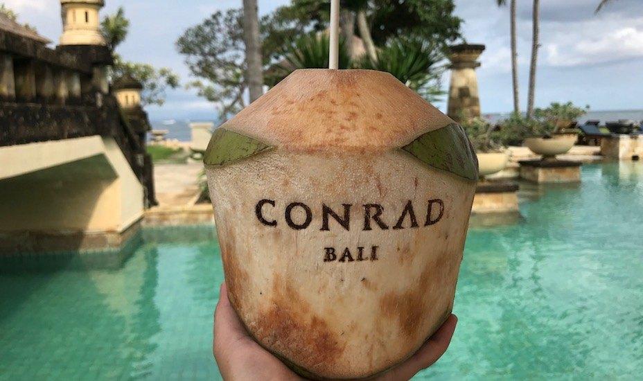 coconuts by the pool at Conrad Bali resort