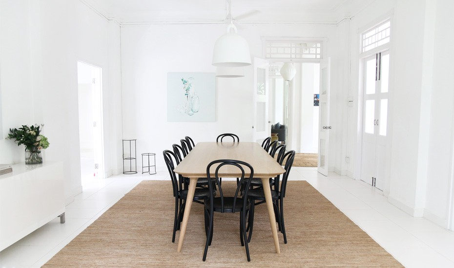 Inside a black and white bungalow styled with modern Australian design