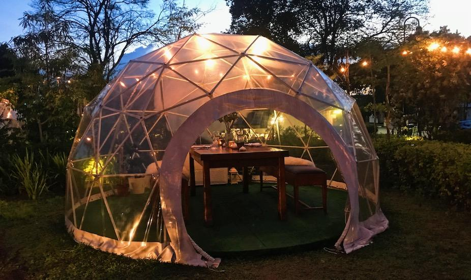 The Summerhouse's Scandinavian-themed Garden Dome, complete with fur throws