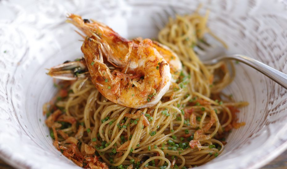 Firebake's signature prawn capellini.