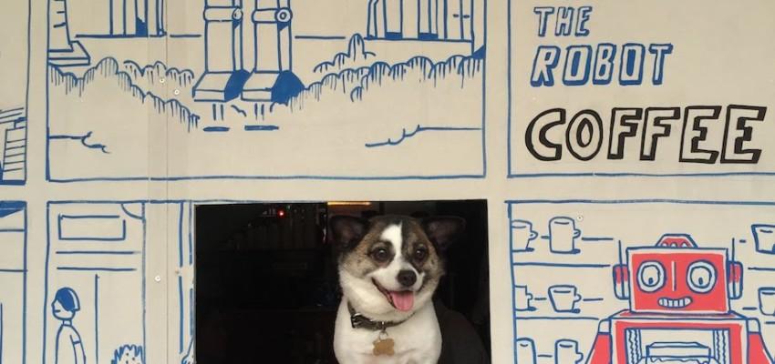 Baileys the dog at Free the Robot cafe Telok Ayer St