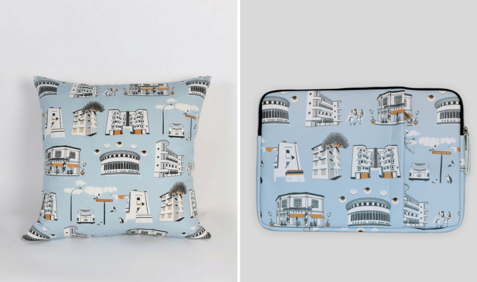 Tiong Bahru cushion cover and laptop sleeve