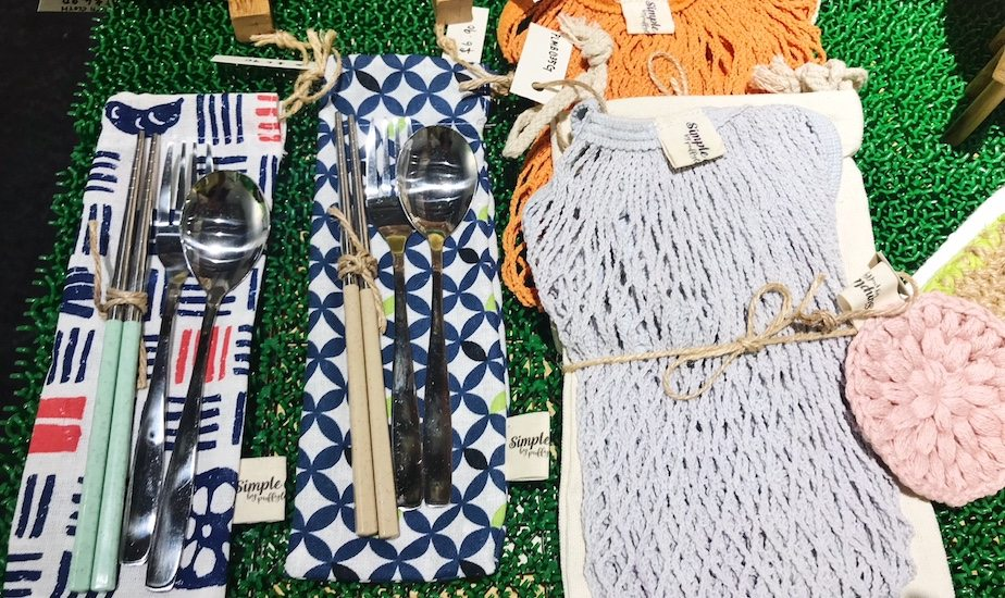 Green Collective popup store: Cutlery kits and reusable bags by Puffy Lamb for a zero waste lifestyle.