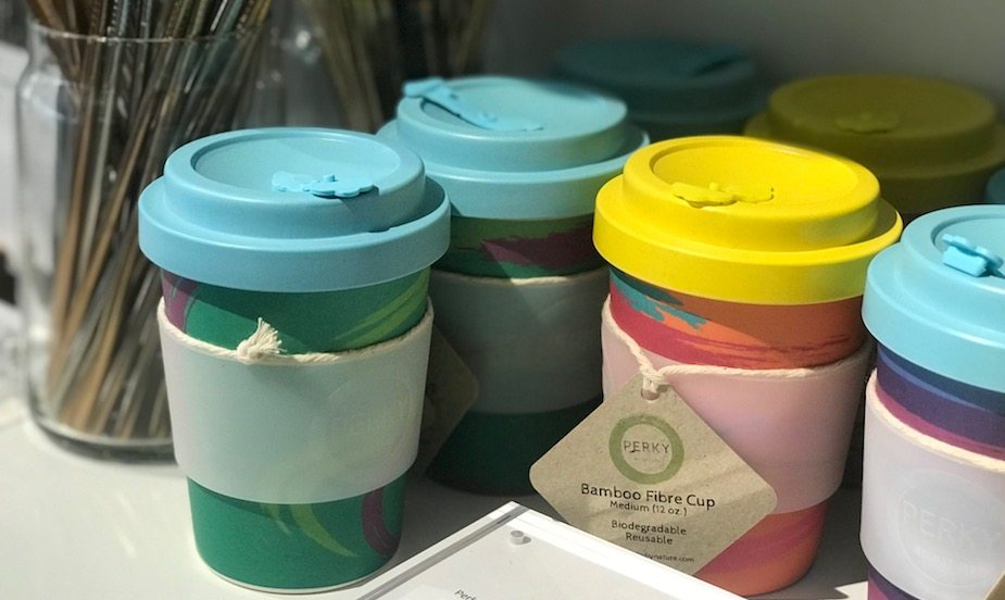 Bamboo fibre reusable coffee cups by Perky at The Social Space. While you're there, pick up a stainless steel or glass straw.