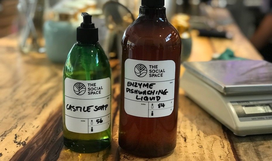 BYO containers to stock up on castile soap, shampoo, surface cleaner and dishwashing liquid at The Social Space's Refillery