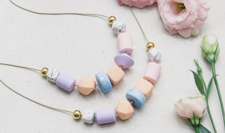 Statement polymer clay jewellery and accessories for a playful ensemble