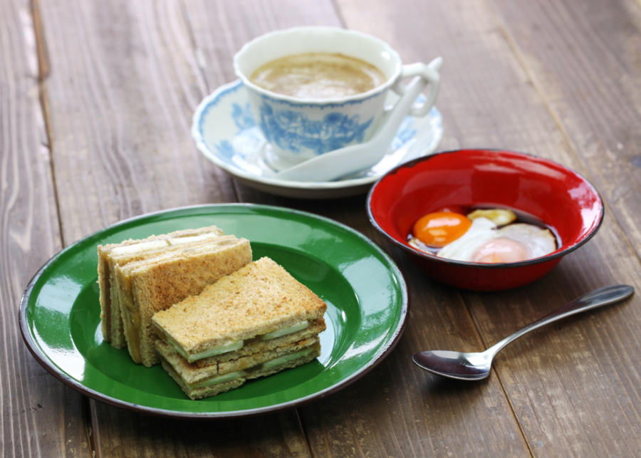 Traditional local breakfast. Kaya toast with soft boil eggs is the way to go