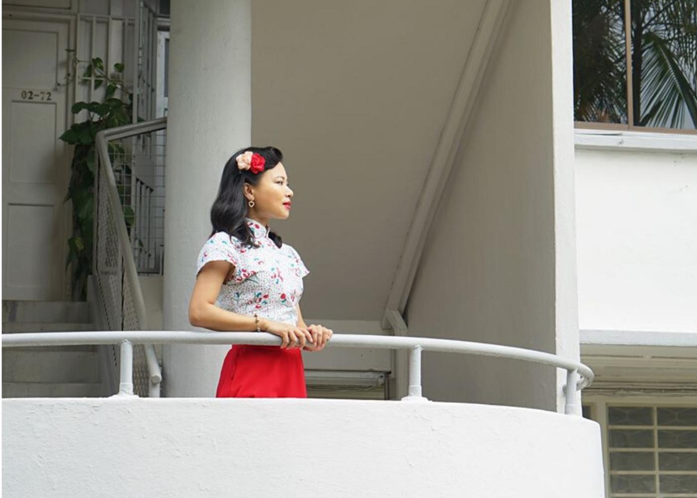 woman wearing vintage cheongsam