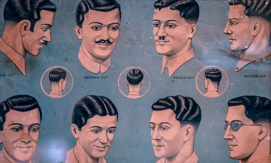 bbdf810a97dac Vintage poster displaying old-school men's hairdos.Men's grooming and best  barbers in Singapore