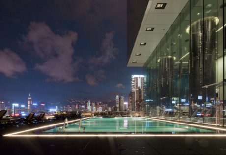 Hotel Icon Hong Kong's pool with a spectacular city view.