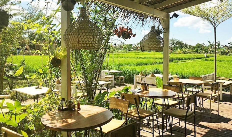 Nook is a tranquil brunch spot overlooking a rice paddy in Petitenget Bali