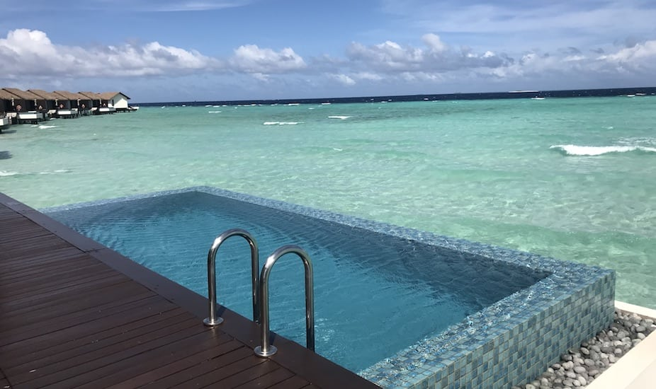 The private pools at the Water Villas at The Residence Maldives overlook the private lagoon