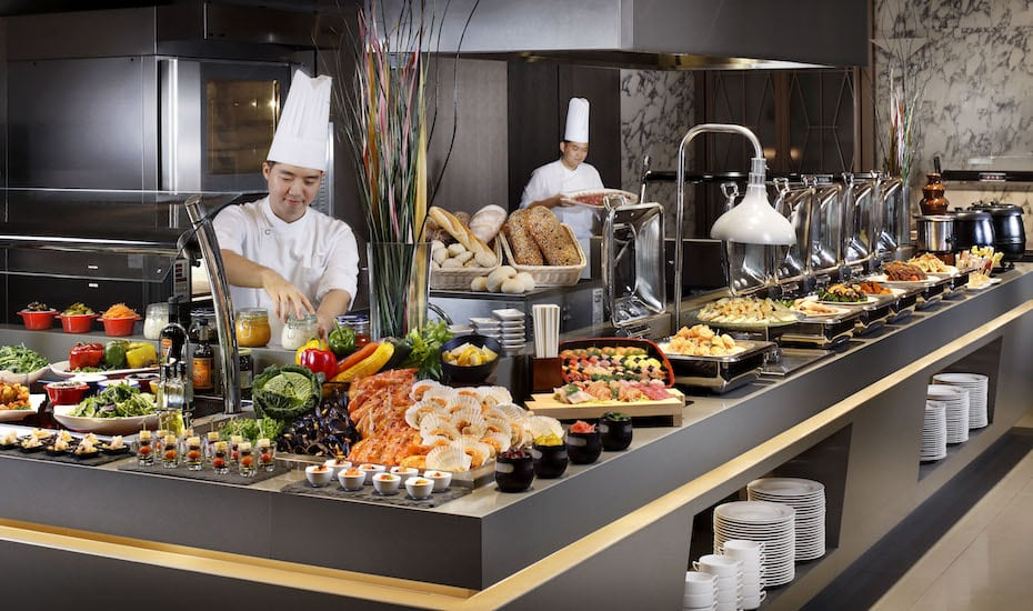 Buffet feast at Singapore restaurant plate