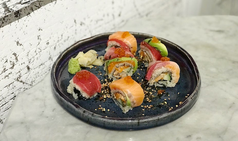 JYPSY Japanese restaurant's rainbow sushi.