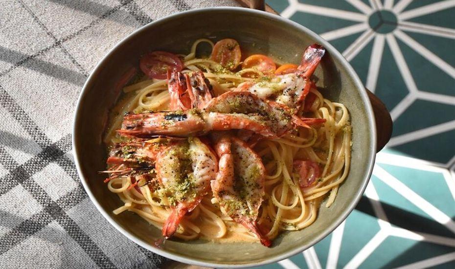 Laksa tiger prawn pasta at Bee's Knees