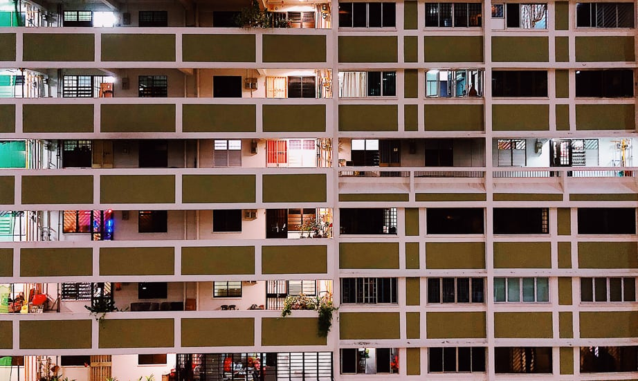 HDB apartments in Singapore's Chinatown, photographed by Meera Jane Navaratnam of Asia Photo Collective