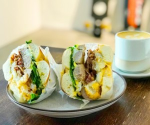 Homeground cafe Joo Chiat's breakfast bagel and specialty coffee