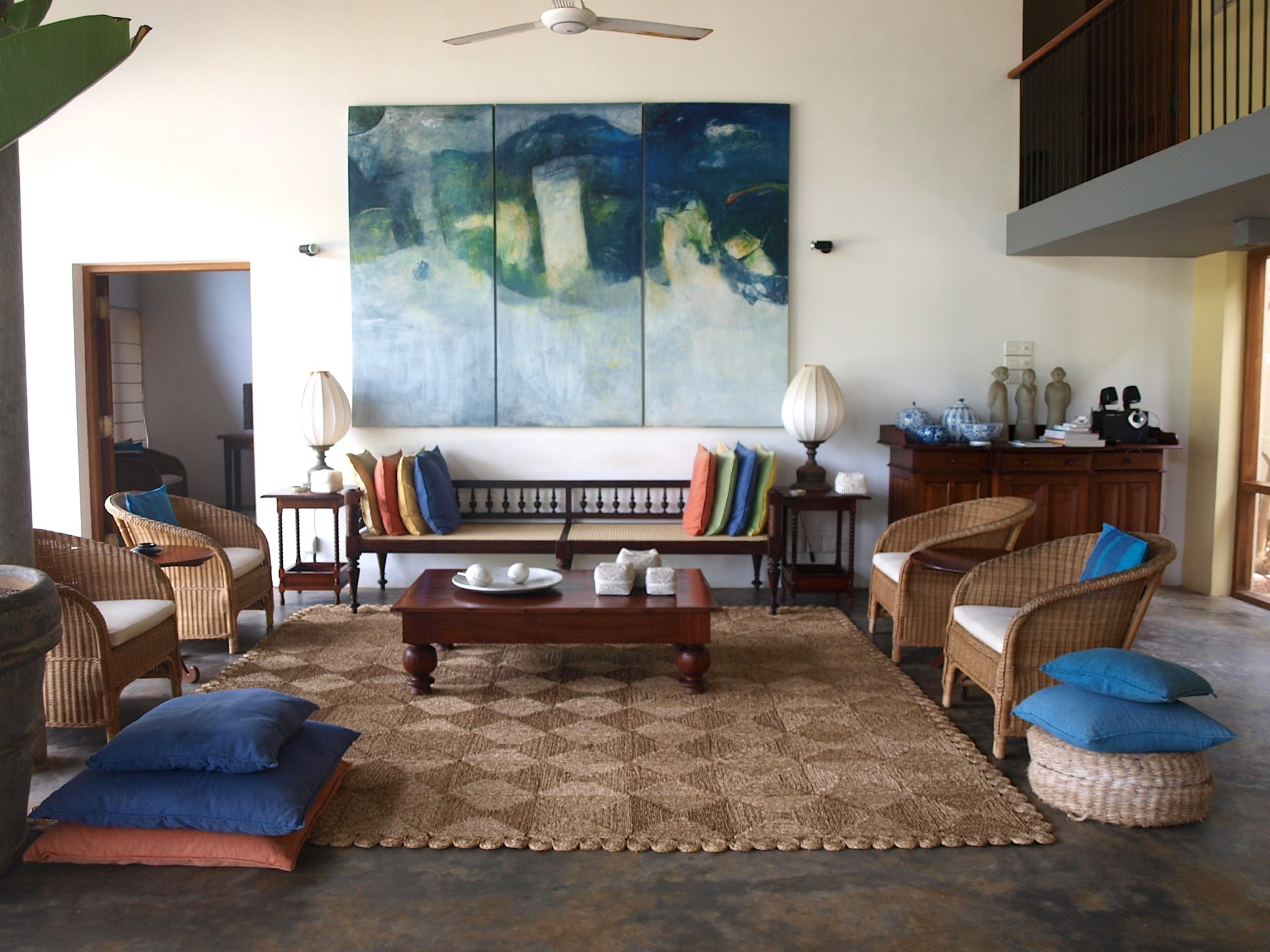 Lounge area in Saffron & Blue luxury beachside villa kosgoda Sri Lanka