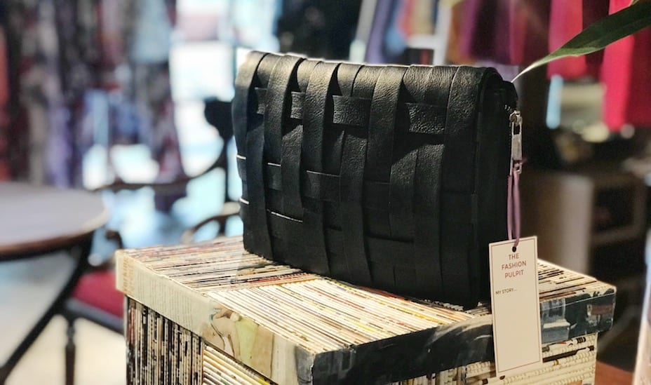 A pre-loved black clutch at The Fashion Pulpit: Singapore's first clothes swapping boutique.