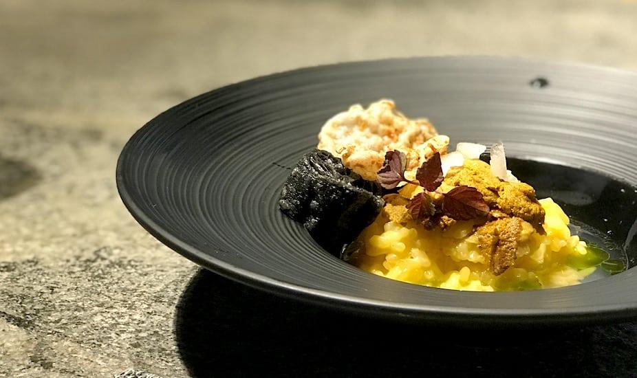 Chef Jeremmy Chiam's comforting rice porridge:Uni Okayu at Le Binchotan.