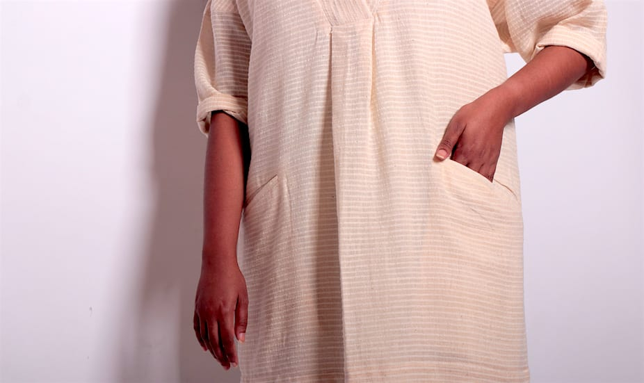 The hand-loomed Khadi cotton shirt dress by ethical fashion label, Esse