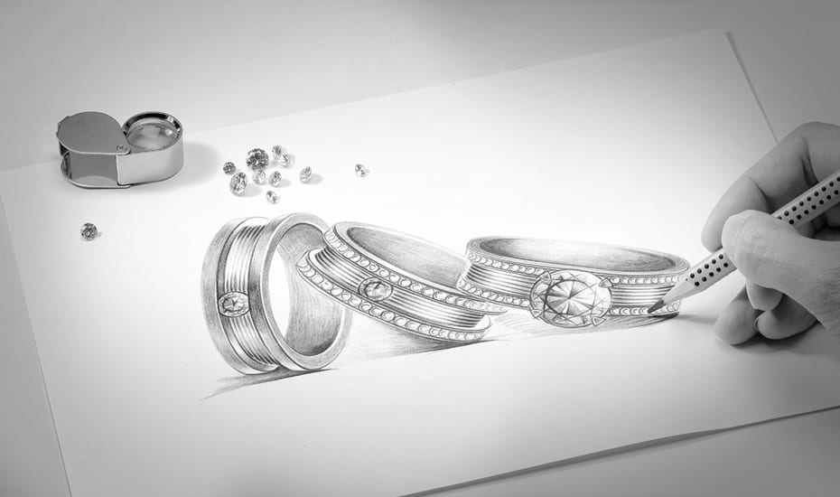 Love & Co.'s LVC Promise diamond solitaire collection | hand sketch