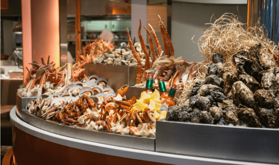 Fresh seafood buffet at The Line restaurant Shagri-La Hotel, Singapore