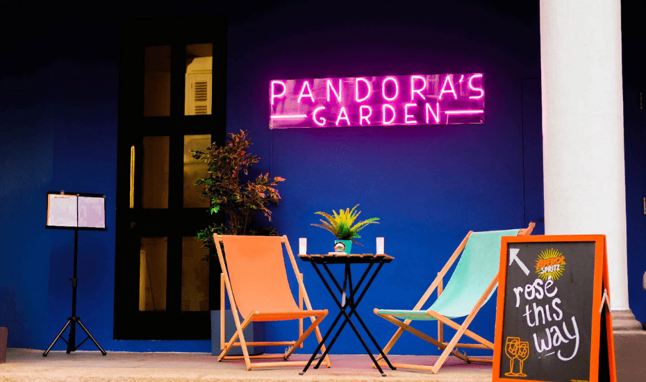 Pandora's Garden is a rooftop garden bar that serves only rosé