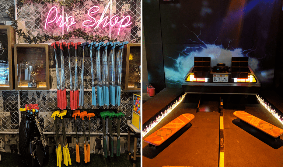 At Holey Moley, Singapore's first mini-golf course in Clarke Quay, play mini golf. There are three courses, each with nine holes