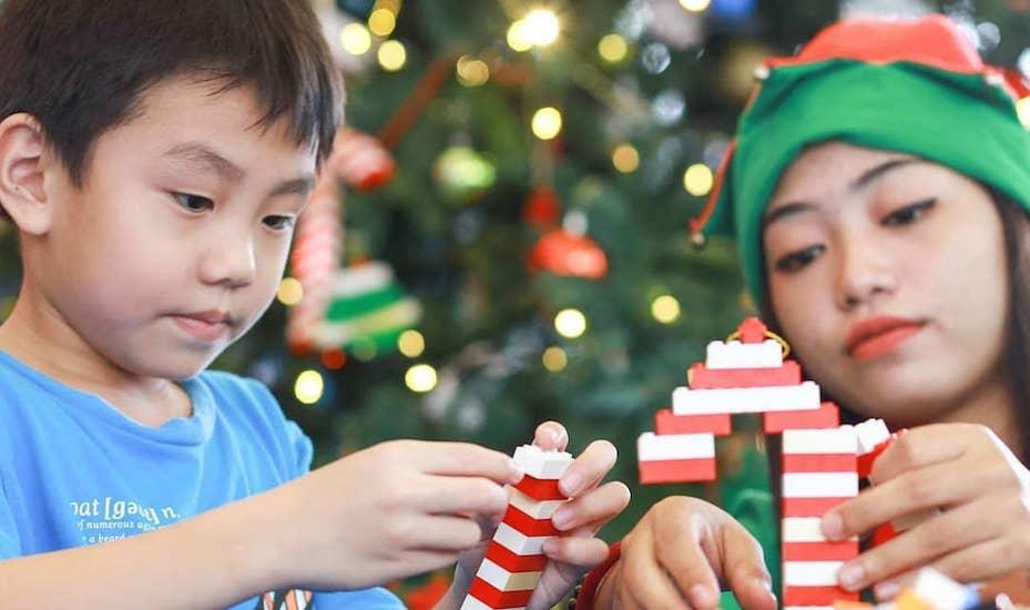 Lego decorations building activity at Legoland Malaysia Brick-Tacular Winter Wonderland
