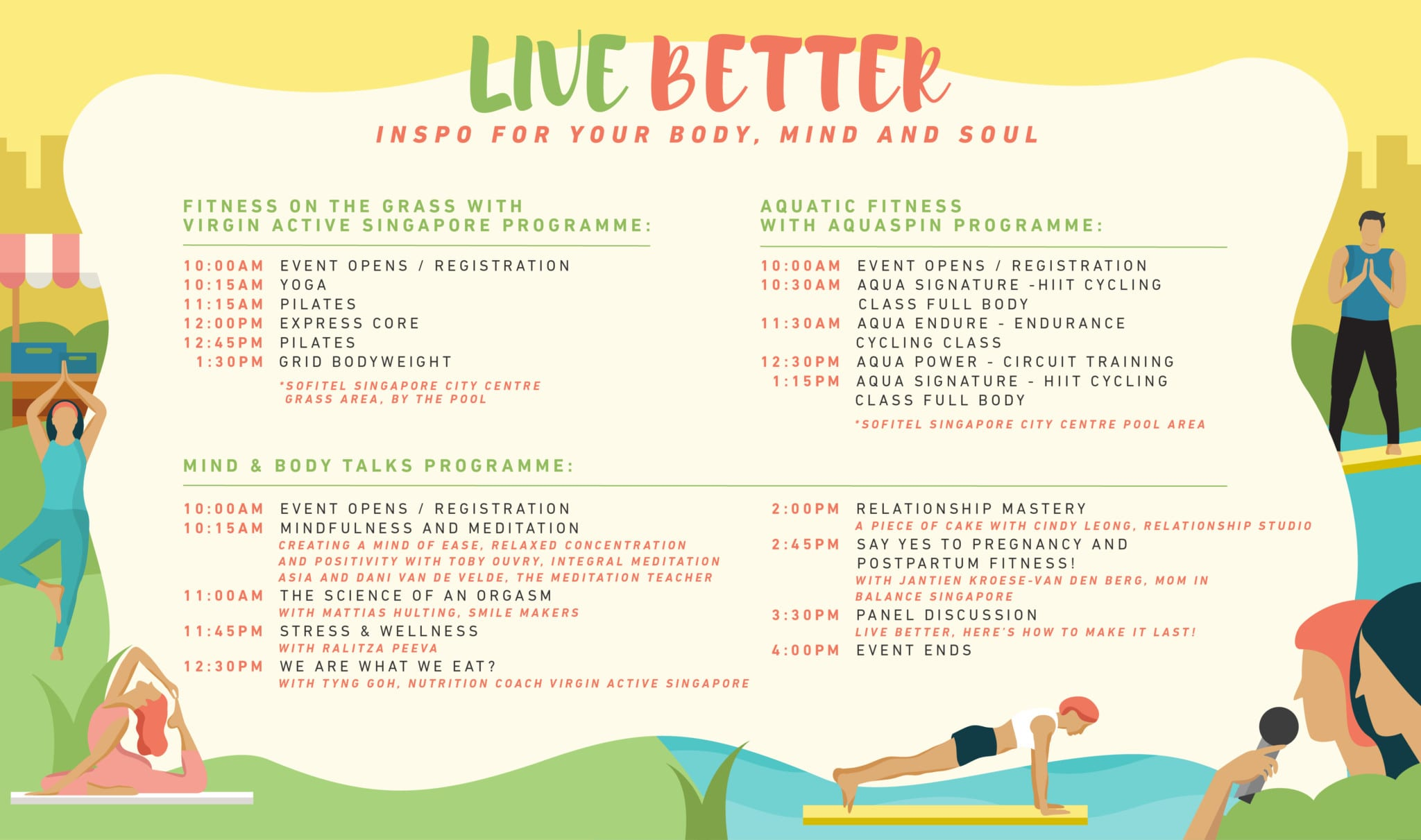 The full event and talks lineup for Live Better: a Day Out with Virgin Active.