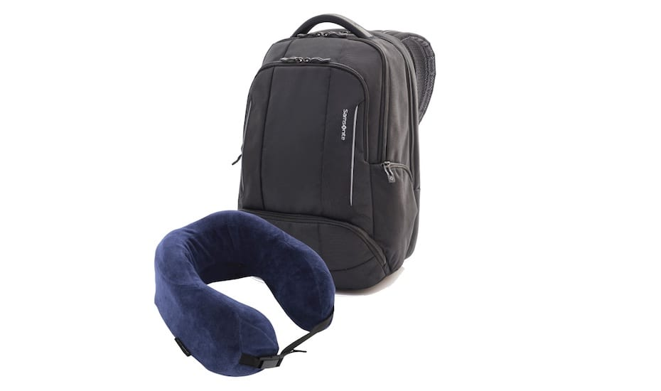 Travel essentials: Samsonite neck pillow and backpack gift set