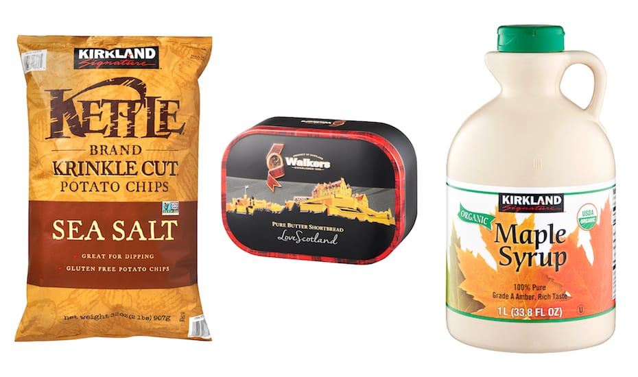Pick up all your snacks and ingredients at Warehouse Club for your holiday gatherings: Kettle chip, classic Walkers Shortbread to share and Kirkland Signatures maple syrup for Christmas pancakes