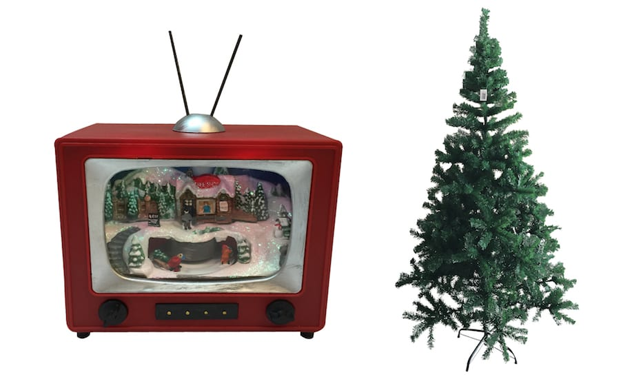 Warehouse Club Xmas decorations include a retro radio display and 1.8 metre Christmas trees